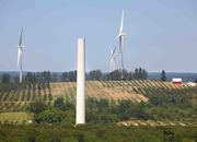 Wind turbines, Mason County Michigan.Comparison of turbine size to barn