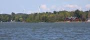 Scenic Bass Lake Michigan and wind turbines