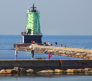 Ludington Michigan Lighthouse covered with netting