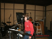 Layce in studio recording SHE DRIVES A TRUCK