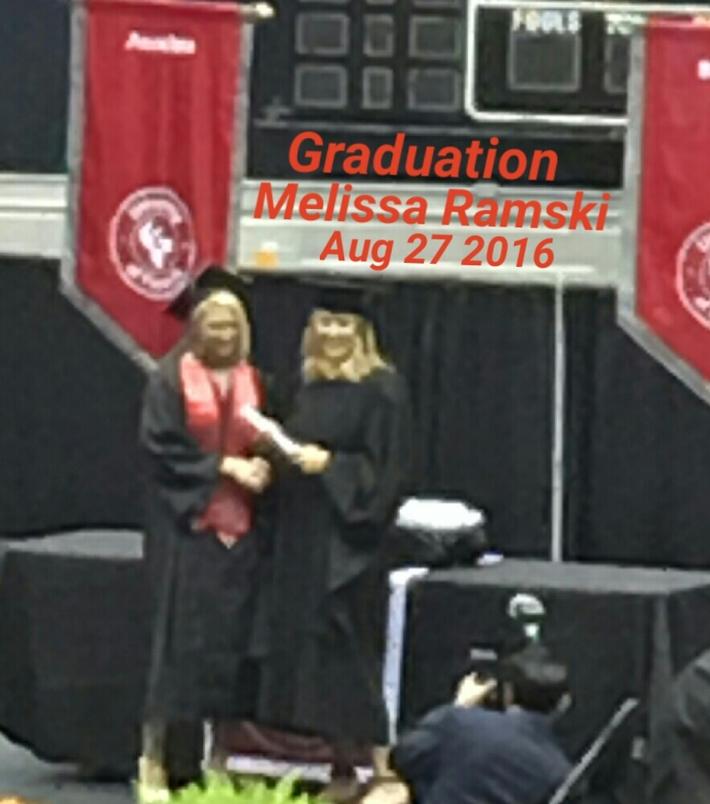 Melissa Graduates with college degree