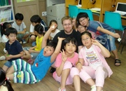 Erik Ling and students in South Korea