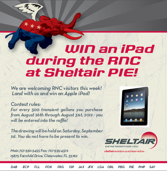 Sheltair PIE - Land with us during the RNC and win an iPad