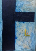 Die Wahrnehmung von Blau 2017 100cm 140 cm Acryl Öl Holz Beton Stoff Karton