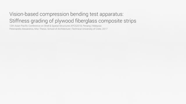 Vision-based compression bending test apparatus: Stiffness grading of plywood fiberglass composite strips