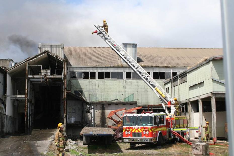 Ladder at work - factory fire