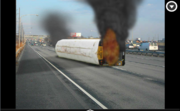 bus fire on the highway