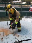 Firefighter Freddie Batista on the Roof