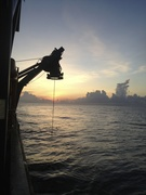 Sun raise with the ROV in the water