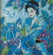 Blue woman and flowers interpreted in thread by DK