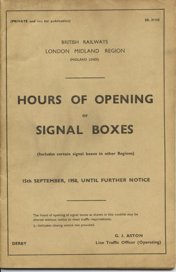 Hrs of Opening of Signal Boxes Cover