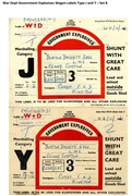 War Dept Government Explosives Wagon Labels Type J and Y - Set B