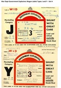 War Dept Government Explosives Wagon Labels Types J and Y - Set A