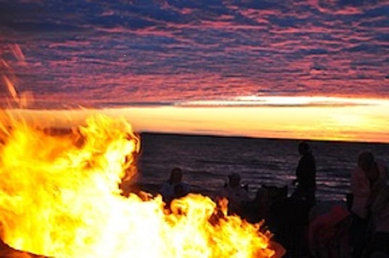 Bonfire at Ludington's Stearn's Park Beach