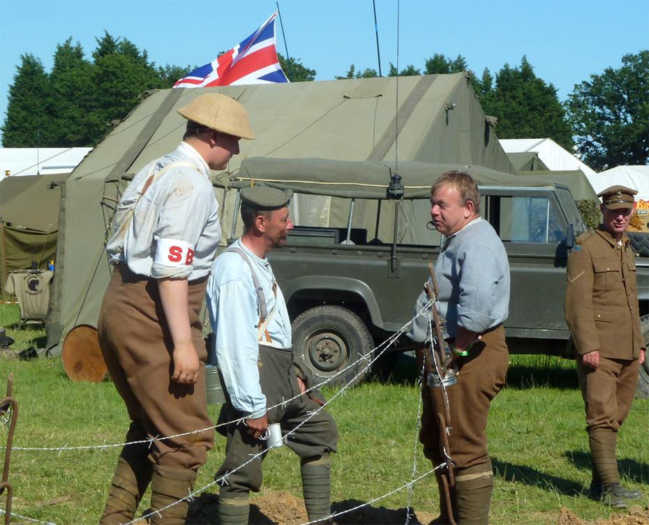 WW1 West Kents re-enactors confer..