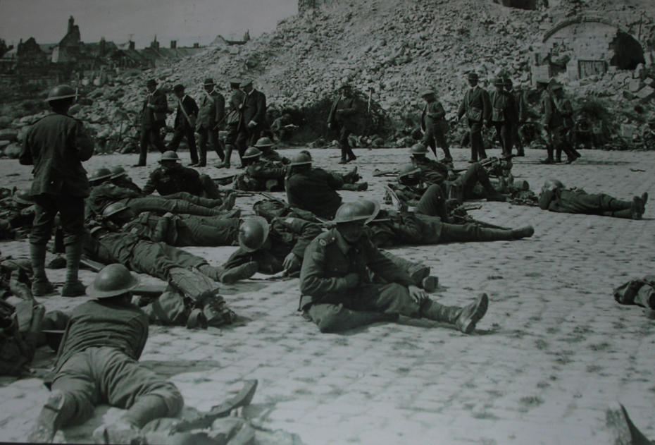 Wellington Quarries picture: troops resting in Arras