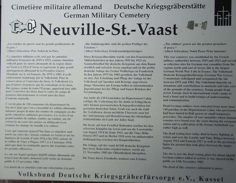 About Neuville St Vaast German Cemetery