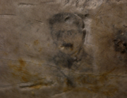 Wellington Quarry - pencil drawing of soldier on tunnel wall
