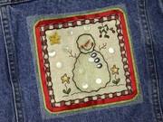 Beaded Snowman Fabric Panel