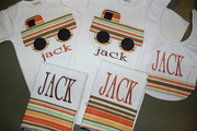 Personalized Truck applique Onesies, burp cloths and bib