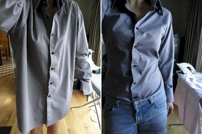 How to tailor a men's buttondown shirt to fit a woman