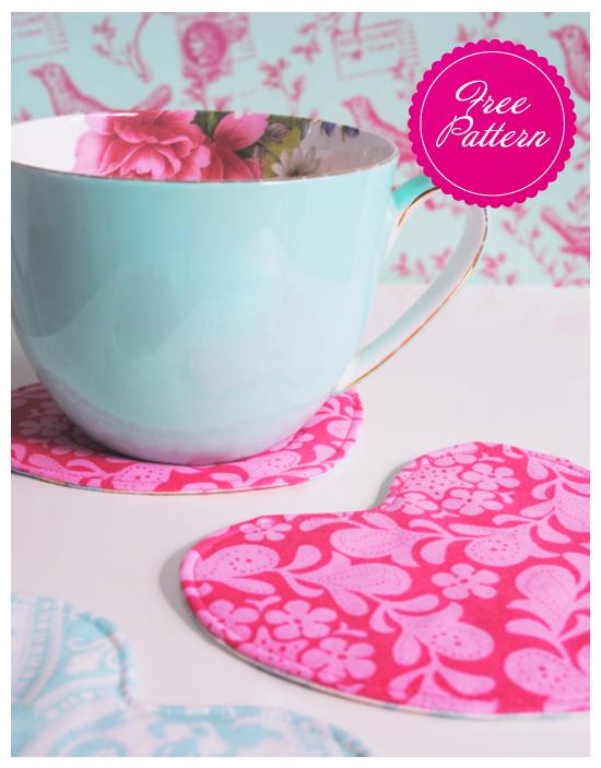 Spoonful O' Sugar Heart Shaped Teacup Coasters - Free PDF Pattern