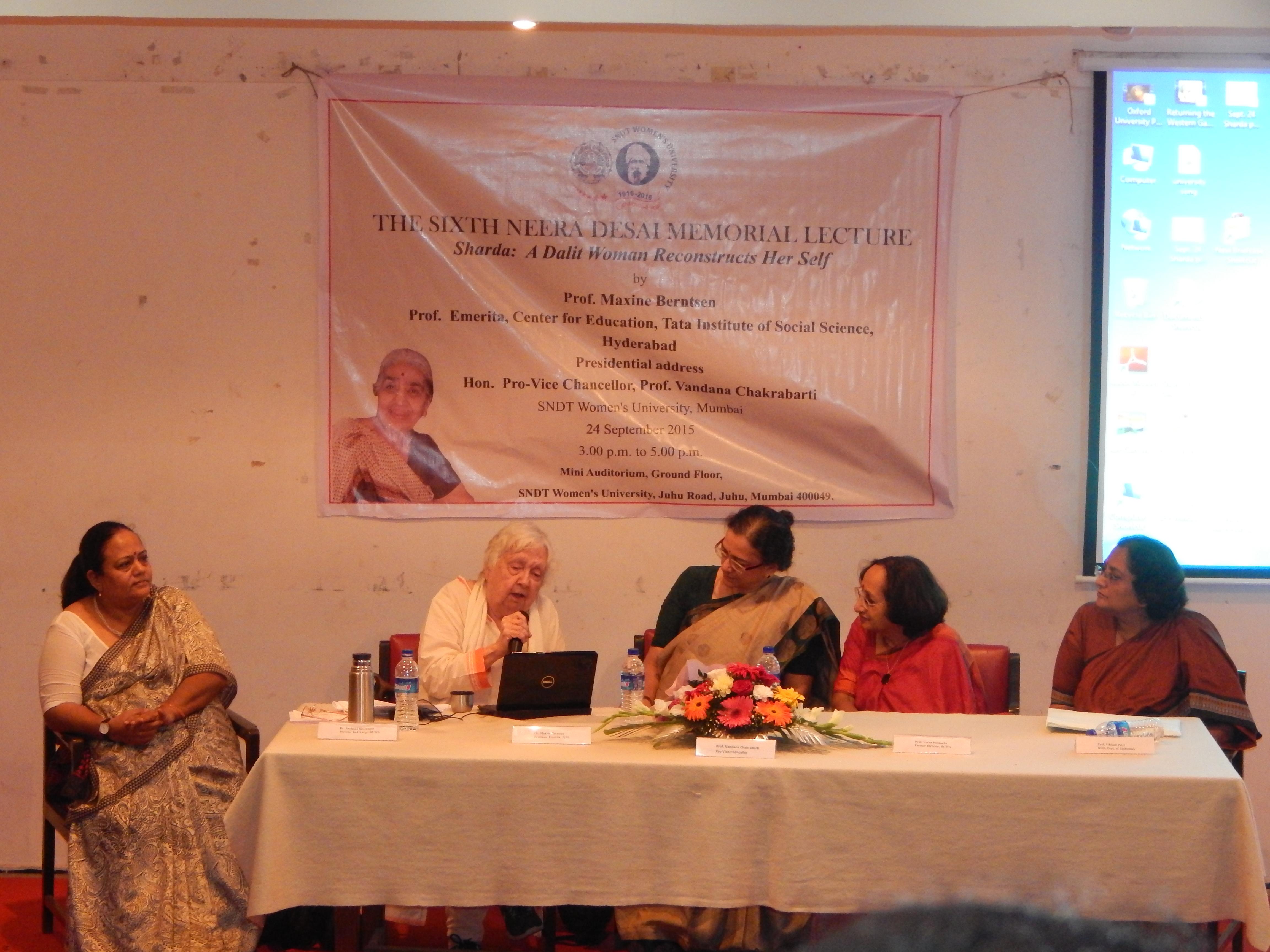 Prof. Archana Bhatnagar, Prof. Maxine Berntsen, Prof. Vandana Chakrabarti, Prof. Veena Poonacha, Prof. Vibhuti Patel at VI NDML 24-9-2015