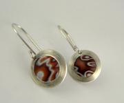 Brown, honey & white polymer clay earrings
