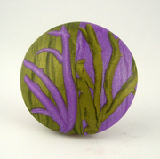 Lavender and Green Reversible Polymer Clay Bead
