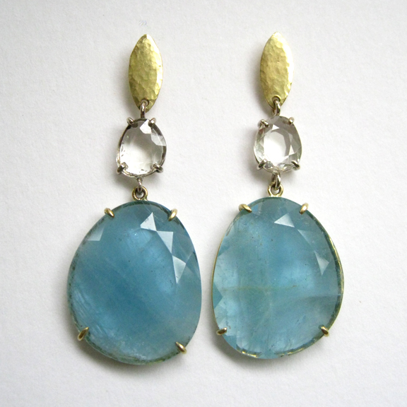 Aquamarine Sapphire 18k Earrings