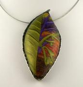 Polymer Clay Necklace - Leaf Shape - Olive, Purple, Orange, Sunset Art Jewelry