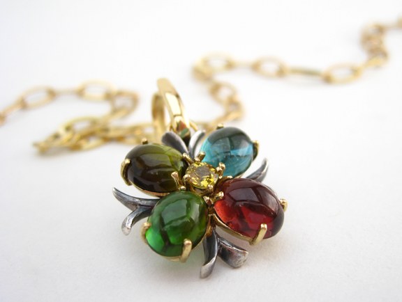 Quatrefoil  'Autumn' on Handmade 18k chain