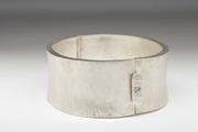Sterling Silver hinged cuff w/aquamarine