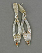 Fine silver (PMC) post and dangle earrings with bezel-set smoky quartz