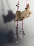 """ necklace bones, glass drops, rhinestones, pink aluminum"