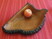 Mesquite vessel with flame-ebonized edges