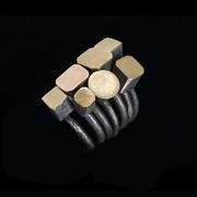 gigi mariani - Solitaire series - rings - silver, 18ktyellow-red gold, niello,patina
