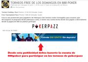 pokerpaz freeroll y freebuy en 888
