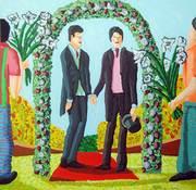 Gay Wedding  queer art painting homosexual artworks paintings  lgbt painter  raphael perez