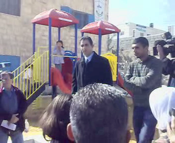 Bassam Aramin speaking at playground in Abir's memory, Feb 9, 2008