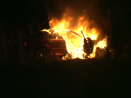 FIERY ACCIDENT-CAR VS TREE FULLY INVOLVED IN FIRE WITH EXPLOSIONS