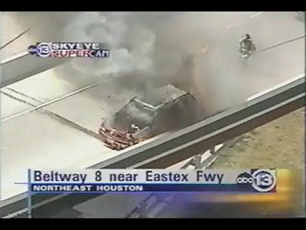 Car Fire / Firefighter CLOSE CALL