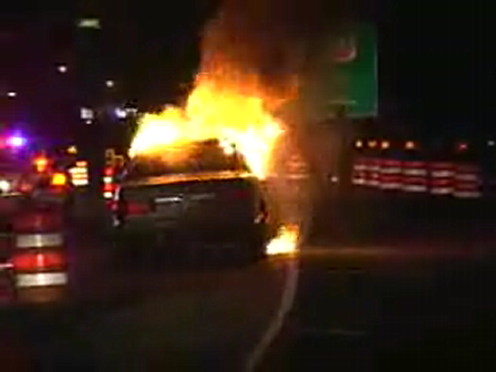 I-294  FULLY INVOLVED CAR FIRE-MERCEDES BENZ