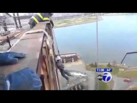 Rescue 2 Con Edison Workers from 13 storey in scaffolding malfunction - Queens