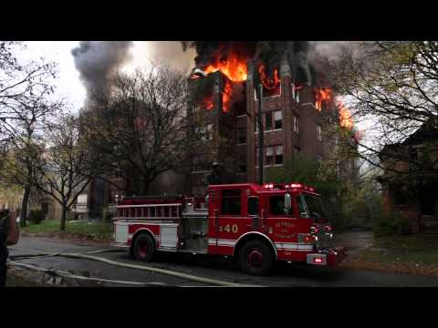 Detroit Vacant Apartment Building Fire