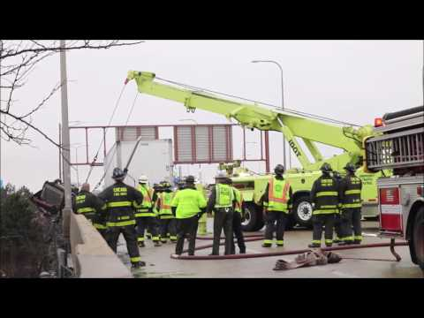 Chicago Special Duty Truck Hanging from Overpass