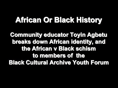 African Or Black History: Toyin Agbetu On African V Black Schism