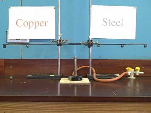 WTC-TT Thermal Conduction Analogy Lab Experiment for Conduction of Heat through Metals - Does Steel transfer direct bunsun burner heat faster than Copper?_____short (edited) version