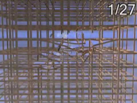 Scientists simulate jet colliding with WTC, between the concrete slabs,but not crashing into the 6 floors of 8 inch thick concrete, a total height of 4 feet of concrete, 208 feet long & 208 feet wide.