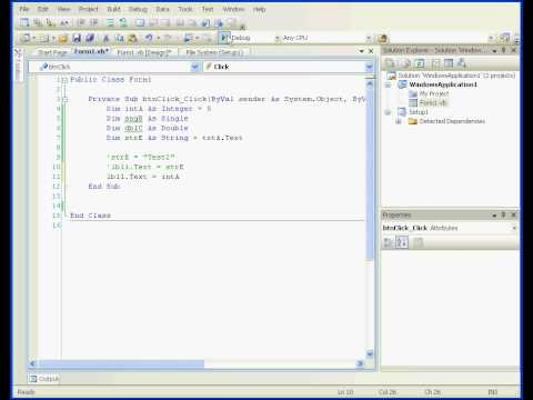 Visual Basic tutorial 2008 Variables